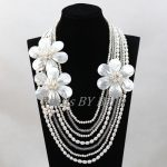 Graceful <b>Handmade</b> Shell Flowers Pearl Necklace <b>Jewelry</b> African Costume Jewellery Party Eveents Necklace Free Shipping ABL344