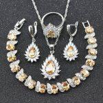 <b>Silver</b> Color 925 Stamp Orange Yellow Morganite Jewelry Set For Women <b>Bracelet</b> Necklace Earrings Ring pendant B24
