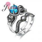 JEXXI Couple Rings Mixed Color Blue Zirconia 925 Sterling Wedding Rings For Female <b>Antique</b> <b>Jewelry</b> Gift Valentine's Day present