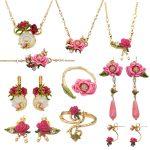 Romantic flowers <b>jewelry</b> sets for women enamel glaze rose flower pearl gem earrings <b>necklace</b> adjustable ring bracelet <b>jewelry</b>