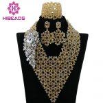 Fashion <b>Handmade</b> Braid Gold Indian Bridal Beads Jewellery Set Nigerian Wedding Bib Statement Necklace Set Free Shipping ABK854