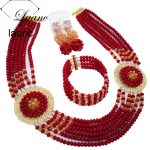 Laanc Fashionable Opaque Dark Red Champagne Gold AB Nigerian Beads <b>Jewelry</b> Set African Wedding Beads <b>Necklace</b> PHJZ010