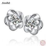 Ataullah Natural Crystal Amethyst Stone Plum Flower 925 Sterling <b>Silver</b> Stud <b>Earrings</b> for Women Fine <b>Silver</b> Jewelry EWS205-Fine