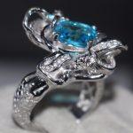 2017 New Fashion <b>Jewelry</b> 925 Sterling Silver Cushion Shape <b>Handmade</b> Blue 5A CZ Women Wedding Mermaid Finger Ring Gift Size 5-10