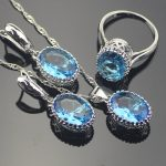 Oval Blue Cubic Zirconia Women 925 Sterling Silver <b>Jewelry</b> Sets Silver Wedding Earrings Pendant Necklace Ring Set Gift Box