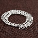 FNJ 3mm 925 Silver Ball Chain Necklace for Women Men <b>Jewelry</b> 45-86cm Long Sweater Thai S925 Solid Silver <b>Jewelry</b> <b>Making</b>