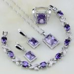 Square Purple Crystal White Zircon 925 Sterling Silver <b>Jewelry</b> Sets For Women <b>Wedding</b> Earrings/Pendant/Necklace/Bracelet/Ring