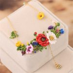 France Fresh Enamel Glated <b>Necklaces</b> Red Flowers Green Leaves Beautiful Fashion Glod <b>Necklace</b> For Women Party <b>Jewelry</b>