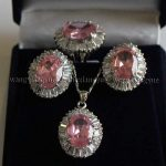 Prett Lovely Women's Wedding NJI4300 shipping> >Pink Rose Crystal Link Earrings/Ring/ Necklace Pendant Set AAA silver-<b>jewelry</b>