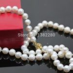 7-8mm White freshwater pearl necklace 18 inches DIY women fashion beautiful <b>jewelry</b> <b>making</b> design gift