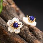 High quality 925 sterling <b>silver</b> natural lapis lazuli Plum blossom <b>earrings</b> girls shell flowers gold <b>earrings</b> cute fashion gifts