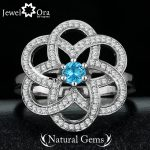 """Natural Stone """"Flower"""" Fashion Exaggerated Ring 925 Sterling Silver <b>Jewelry</b> for Women Come With Box (JewelOra RI101318)"""