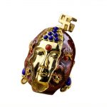 Real 925 <b>Sterling</b> <b>Silver</b> Buddha Figure Pendants For Men Inlaid Natural Lapis Lazuli Red Onyx Natural Stones Vintage <b>Jewelry</b>