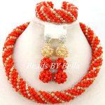 Latest Design <b>Handmade</b> Crystal Beads Necklace African <b>Jewelry</b> Set Orange Gold Women Fashion <b>Jewelry</b> Set Hot Free Shipping ABY350