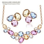 Neoglory Light Yellow Gold Color Colorful Crystals Fashion Beads Bridal <b>Jewelry</b> Sets <b>Necklaces</b> Earrings 2018 for Women Fashion