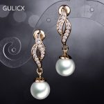 Gulicx Trendy Delicate Women Luxury Clear Cubic Zircon Paved Pearl Earrings For Brides Wedding Party <b>Jewelry</b> E527