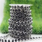 6/8mm Top Quality Sparkle Crystal Black Rhinestone Handmade Silver Strong Chain <b>Jewelry</b> <b>Making</b> ss28-ss38 10yards