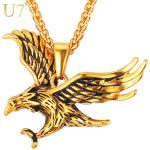 U7 Brand Eagle Necklace Statement <b>Jewelry</b> Sale Gold Color Stainless Steel Hawk Animal Charm Pendant & Chain For Men P748