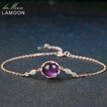 LAMOON 8x10mm 3ct 100% Natural Oval Purple Amethyst 925 Sterling <b>Silver</b> Jewelry Charm <b>Bracelet</b> LMHI045