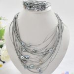 Hot sale new Style >>>>15row 13mm black rice pearl gray leather necklace & <b>bracelet</b>