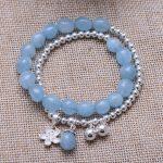 925 Sterling <b>Silver</b> Aquamarine <b>Bracelet</b> with Flower Women Thai <b>Silver</b> Gift Dual String Jewelry CH058534