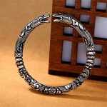 Vintage Punk Silver 925 <b>Jewelry</b> <b>Fashion</b> Hyperbole Rock Snake Head Pattern 925 Thai silver Bracelets & Bangles For Men B043