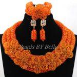 Transparent Orange Traditional Wedding Beads <b>Jewelry</b> Set <b>Handmade</b> Flower Crystal Statement Necklace Set Free Shipping ABL010