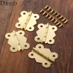 DRELD 4Pcs 33*40mm Butterfly Door Hinges Furniture Hardware Gold 4 Holes Cabinet Drawer <b>Jewellery</b> Box Furniture <b>Decorative</b> Hinge