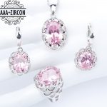 925 Sterling Silver Women Bridal <b>Jewelry</b> Sets Pink Zircon Necklaces Pendants Rings Earrings With Stones Set of Jewelery Gift Box