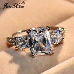 JUNXIN Female Luxury Swarovski Zircon Stone Ring <b>Fashion</b> Promise Wedding Big Rings For Women Vintage White Gold Filled <b>Jewelry</b>