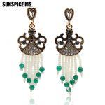 Wholesale Vintage Turkish Women Flower Seed Bead Drop Earrings <b>Antique</b> Dangle Tassel Hook Earring Indian Ethnic Wedding <b>Jewelry</b>