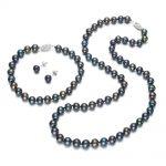 SNH Prett Lovely Women's Wedding 7-8mm round AA Black Cultured Pearl Necklace Bracelet <b>Earring</b> Set