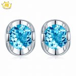 Hutang Round 5.0mm Genuine Swisss Blue Topaz Stud <b>Earrings</b> Solid 925 Sterling <b>Silver</b> Gemstone Jewelry Simply Style Women Gift