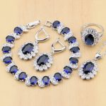 925 Silver Bridal <b>Jewelry</b> Sets Blue Cubic Zirconia White CZ Beads For Women Earrings/Pendant/Ring/Bracelet/<b>Necklace</b> Set