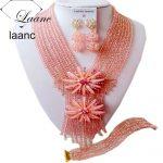 Black Women <b>Jewelry</b> Set Peach Nigerian African Wedding Beads <b>Necklace</b> Bracelet Clip Earrings AL115