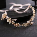 TUANMING Bridal wedding headband pearl crystal shell bridal headdress romantic ribbon hair ornaments gold <b>silver</b> wedding <b>jewelry</b>
