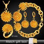 Dandelion Flower Jewelry Drop Earrings <b>Bracelet</b> Ring Pendant Necklace Set For Women Dubai Gold/<b>Silver</b> Color Jewelry Set PEHR1410