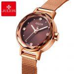 Ladies Steel Mesh Gold <b>Silver</b> Quartz Wristwatch Women Fashion Casual Rhinestone Stone Watch Famous Brand Julius 917 Gift Box HOT