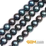 Black with Peacock Green luster Round Cultured Freshwater Pearls Beads Natural Pearls DIY Beads For <b>Jewelry</b> <b>Making</b> Strand 15″