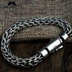 GAGAFEEL S925 Thai Sterling <b>Silver</b> Handmade Hemp Rope <b>Bracelets</b> Men's Chain Fashion Vintage PersonalityTwist Male <b>Bracelet</b> Gifts