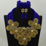 Royal Blue <b>Handmade</b> African <b>Jewelry</b> Sets Statement Necklace Gold Flower Petals Brooch Wedding <b>Jewelry</b> Set Free Shipping ABK970