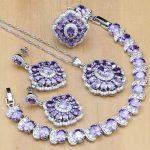 925 <b>Silver</b> Bridal Jewelry Purple CZ White Zircon Jewelry Sets For Women Wedding Earrings/Pendant/Ring/<b>Bracelet</b>/Necklace