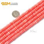 Natural Rondelle Smooth Loose Pink Coral Spacer Beads For <b>Jewelry</b> <b>Making</b> Bracelet Necklace Strand 15″ DIY Jewellery Gem-inside