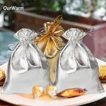 OurWarm 50Pcs Gold Silver Metallic Foil Organza Bag 9x12CM Candy Gift Bag <b>Jewellery</b> Packing Pouches Christmas Wedding <b>Decoration</b>