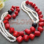 Amazing! 30″ Pearl&Onyx&Coral <b>Necklace</b>