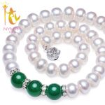 NYMPH Natural pearl <b>necklace</b> Fine Jewelry 9-10mm Freshwater Pearl Choker <b>Necklace</b> Red /Green Agate For Mother Trendy Gift X911