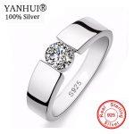 YANHUI Men Wedding <b>jewelry</b> 100% 925 <b>Sterling</b> <b>Silver</b> Ring Set 1 Carat SONA CZ Diamant Engagement Ring RING SIZE 6 – 11 YRD10