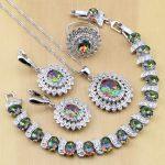 Mystic Rainbow Fire CZ 925 Sterling Silver <b>Jewelry</b> <b>Jewelry</b> Sets Women Earrings/Pendant/<b>Necklace</b>/Rings/Bracelet T234