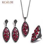 KCALOE Luxury Cubic Zirconia Jewelry Set Black Rhinestone Antique <b>Silver</b> Color Long Geometry Wedding Jewellery Sets For Women
