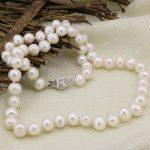 8-9mm natural white pearl freshwater cultured nearround beads necklace for women chain choker diy <b>jewelry</b> <b>making</b> 18inch B3234